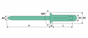 Q-Tri-split Presslaschen-Blindniet Alu/Alu SK