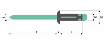 Q-Tri-split Presslaschen-Blindniet Alu/Alu FK
