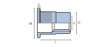 Q-Nut Blindnietmutter Stahl FK M10, Kl=1.5-6.0,  Feingewinde offen