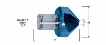 Kegelsenker 90°,   HSS-XE Blue-Tec beschichtet Weldonschaft