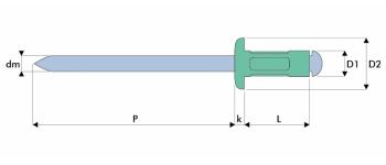 Q-Multigrip Mehrbereichsblindniet Alu/Stahl FK