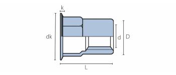 Q-Nut Blindnietmutter Stahl Teilsechskant kleiner SK
